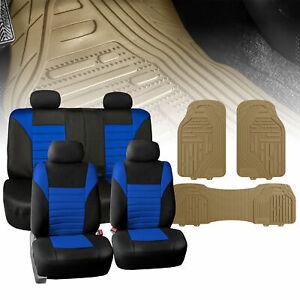 Seat Covers for Car Suv Van Air Mesh Black W/ Beige Premium Floor Mats
