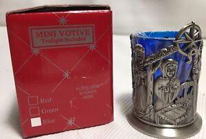 Set Of Two Matching Mini Votive Nativity Christmas Candle Green & Blue Glass IOB