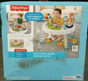 Fisher Price 3 in 1 Sit to Stand Baby Toddler Activity Center Jazzy Jungle FPV61