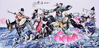 ORIENTAL ASIAN ART CHINESE FIGURE WATERCOLOR PAINTING-Eight Immortals cross sea