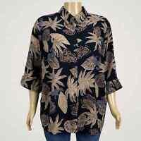 Maggie Barnes Floral Leaf Print Button Up Shirt Blouse 2X 22W 24W PLUS Black Tan