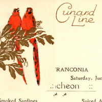 Antique 1925 Cunard Line RMS Franconia Ocean Liner Luncheon Menu