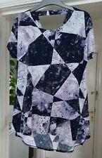 Nina Leonard Short Sleeve Top with Cowl Back detail, blue multi Size M, NWOT