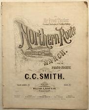 1876 Early RAILROADIANA sheet music NORTHERN ROUTE Burlington & Northern Railway