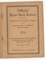1936 Official Base Ball Rules Official National Association Pro Base Ball League