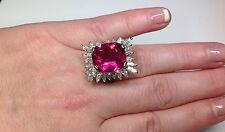Estate 13.81 CTW Natural Pink Tourmaline Diamond Ring 18k white gold!