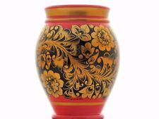 Vase en bois peint à la main H 17 cm  KHOKHLOMA Russie