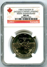 1984 $1 CANADA JACQUES CARTIER LANDING NGC MS66 DOLLAR 450TH ANNIVERSARY TOP POP