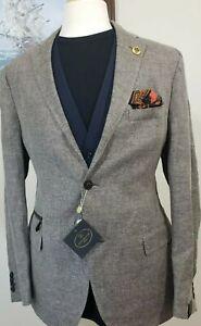 CORNELIANI Blazer Linen Flax Wool Unstructured  Sport Coat  Brown 44 42 slim