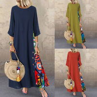 UK Womens 3/4 Sleeve O Neck Casual Loose Patchwork Kaftan Maxi Dress Plus Size