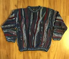 VTG Tundra Sweater 3D Bright Coogi Style Biggie Size XL Blues And Purples Rare