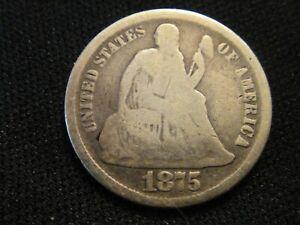 1875 CC BELOW SEATED LIBERTY DIME BK4 BETTER GRADE