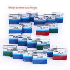 20 Types/100pc Dental Diamond Burs for High Speed Handpiece Medium FG 1.6 M UK