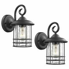 Emliviar 1-Light Outdoor Wall Lantern 2 Pack Exterior Wall Lamp Light in Blac...