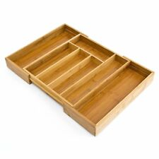 Extendable Wooden Bamboo Cutlery Tray  Kitchen Drawer Insert, 5 to 7 Compartment