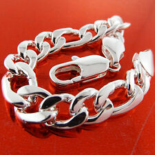 Silver S/F Solid Men'S Heavy Link Bracelet Cuff Bangle Genuine Real 925 Sterling