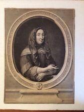 Gravure ancienne Edelinck portrait de Magdelene De Lamoignon.