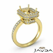 Halo Pave Set Diamond Engagement 0.89Ct Ring 18k Yellow Gold Emerald Semi Mount