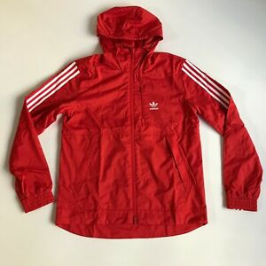 adidas Mens Size Small Originals Lock Up WB Jacket Red White Hoodie Zipper New