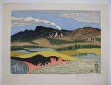 """Junichiro Sekino - """"Aso Noyaki"""" - 1980 Woodblock Print with Case"""
