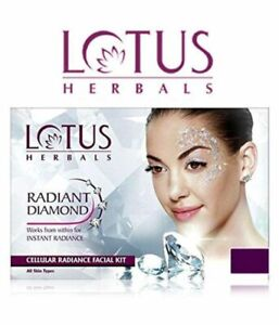 2 X LOTUS HERBALS RADIANT DIAMOND CELLULAR RADIANCE FACIAL KIT FOR SOFT SKIN