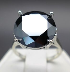 9.93cts 15.05mm Natural Black Diamond Ring AAA Grade & $5165 Value