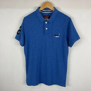 Superdry Mens Polo Shirt Size XL Slim Fit Blue Short Sleeve Collared Button