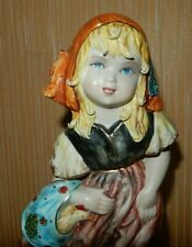 """11"""" Peasant Girl w Chicken Capodimonte Figurine Gold Accents Hand Painted Great"""