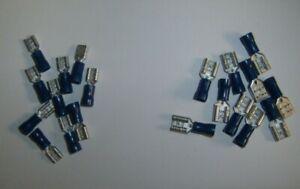 20 Vinyl Female Aftermarket Speaker Wire Connectors Terminals Blue 16-14 AWG Ga
