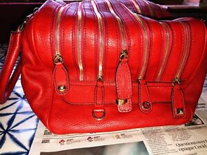 Iconic Dolce And Gabanna Large Lily In Red Leather