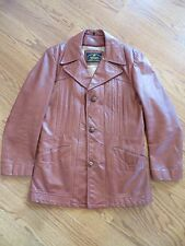Vintage Mens Genuine Leather Button Up Removable Lining Jacket Sz 38 Regular EUC