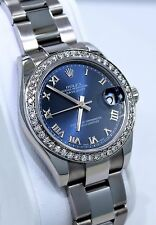 Rolex Datejust 178240 Midsize 31mm Oyster Perpetual Diamond Bezel Blue Dial MINT