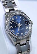 Rolex Datejust 178240 Midsize 31mm Oyster Perpetual Diamond Bezel Blue Dial MINT