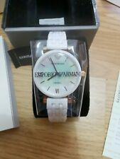 ARMANI WOMENS WATCH AR1486 MOTHER OF PEARL DIAL WHITE CERAMIC STRAP