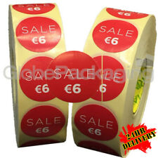 2000 x 'SALE €6' EURO Retail Self Adhesive Shop Price Labels Stickers 35mm