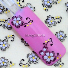 3D Black White Flowers Nail Art Sticker Decals For Nail Tips Decoration  F44