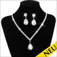 NEU 🌸 Luxus STRASS Collier & OHRRINGE Set Waterdrop Modeschmuck 🌸 Fashion