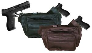 Genuine Leather Concealed Carry Weapon Fanny Pack Waist Pistol Gun Bag CCW