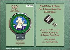 Royale Classic Car Scooter Badge & Desmo Bar Clip ST CHRISTOPHER GREEN B1.2579