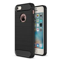 Apple iPhone 5 5s SE TPU Case Carbon Fiber Optik Brushed Schutz Hülle Schwarz