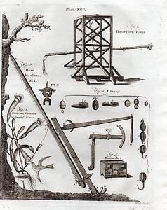 1797 Géorgien Imprimé ~ Battering RAM Bern Machine Binnacle Trompette Fleur Etc