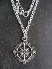 "Una de plata tibetana ""Brújula"" encanto 30x25mm Cadena Colgante Collar de 20 ""de largo"