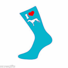 I Love Greyhounds Womens / Ladies Turquoise Socks