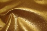 """Vinyl leather Faux Upholstery fabric Ostrich Metallic 54"""" Wide Gold sold BTY"""