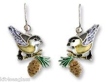 Zarah CHICKADEE EARRINGS Sterling Silver & Enamel Yellow Bird - DISCONTINUED