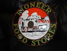 """OLD PIONEER FOOD STORE Porcelain 16"""" Advertising Sign WESTERN Ox CONESTOGA Wagon"""