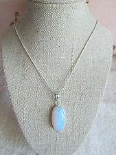 ~ Natural Opalite Gemstone Pendant on a Silver Plated Chain ~ Necklace ~