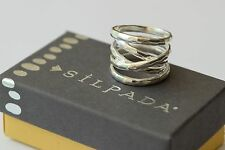 "Silpada NIB ""Wrapped Up"" Hammpered Sterling Silver Wrap Size 9 Band Ring R3475"