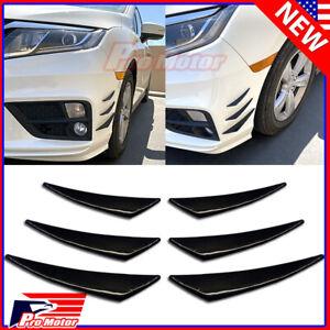 Gloss Black Universal Front Body Bumper Lip Splitter Diffuser Canards Fin Kit P1