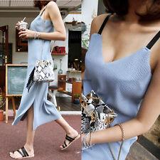 Summer Fashion Women Spaghetti Strap V Neck Split Sundress Maxi Long Tank Dress